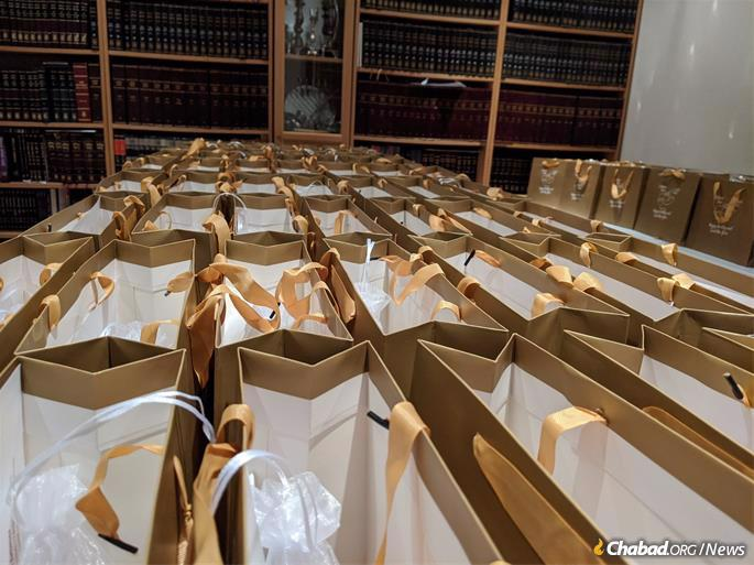 Rosh Hashanah-to-go kits are prepared at Chabad of Battersea in Central London.