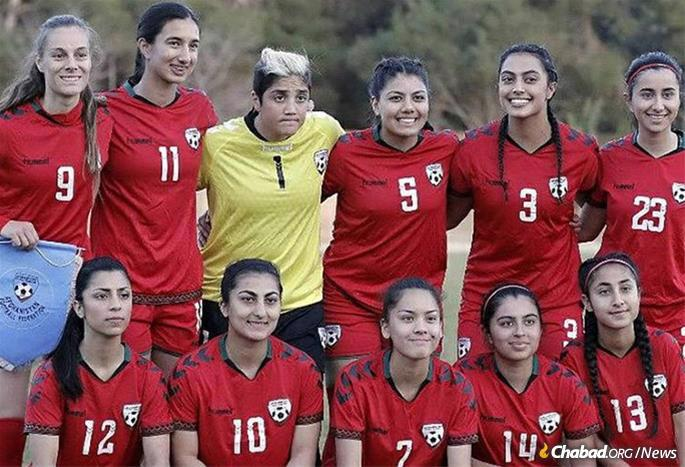 Members of the Afghan women's soccer team