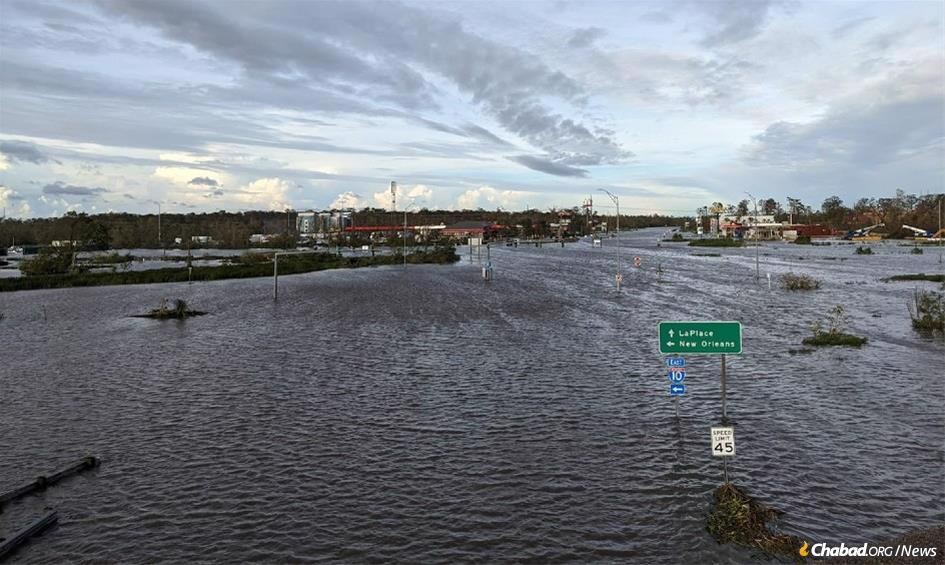 In Laplace, La., Interstate Highway 51, a major south-north United States roadway, was completely covered in water.