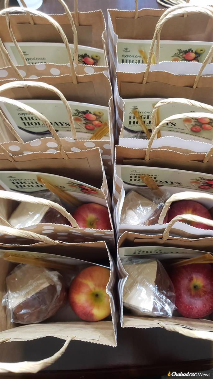 Rosh Hashanah-to-go kits are prepared at Chabad of Cranberry Township, Pa.