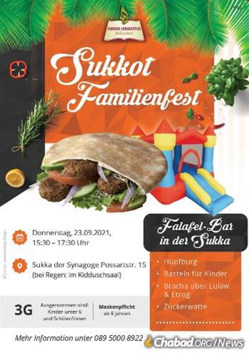All kinds of Sukkot celebrations will be held at thousands of Chabad centers around the world, like this one in Munich, Germany.