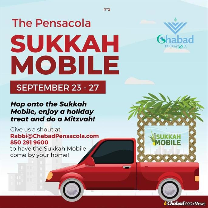 Sukkah mobiles will be bringing the holiday to people on the street as well as to the homebound, as in Pensacola, Fla.