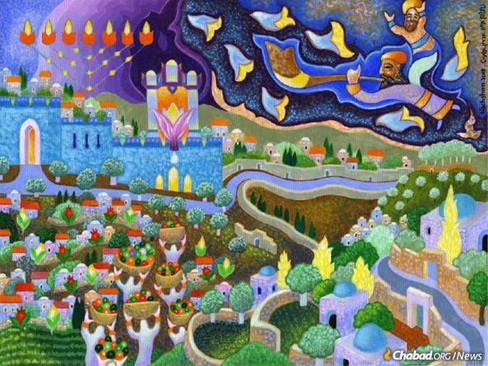 The Messianic era was a frequent theme of Nachshon's paintings. (Photo: Nachshonart.com)