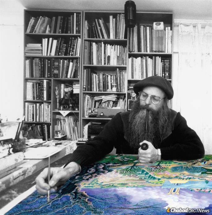 At work at his studio in Kiryat Arba. (Photo: Nachshonart.com)