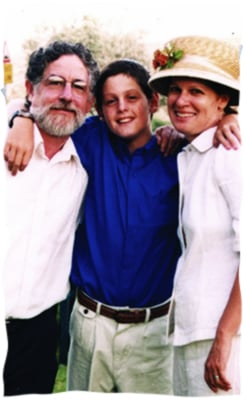 Koby with his parents at his Bar Mitzvah