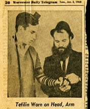The Worchester Daily in Massachusetts on the tefillin campaign