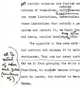 Click on image above to see this paragraph, as well as the paragraph that follows (described below) in the original manuscript with the Rebbe's revisions.