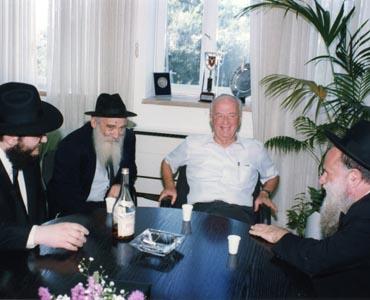 """נציגי חב""""ד נפגשים עם רבין במהלך השיחות להסכמי אוסלו. צילום: מיכאל פריידין"""