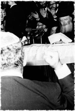 Abe lors d'un rassemblement 'hassidique au quartier général mondial de Loubavitch.