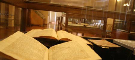 A view of the showcases at the Agudas Chassidei Chabad Library in Brooklyn, N.Y.