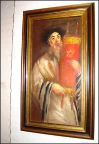 """One of the paintings in Hyman Bloom's """"Rabbis Holding Torahs"""" series"""