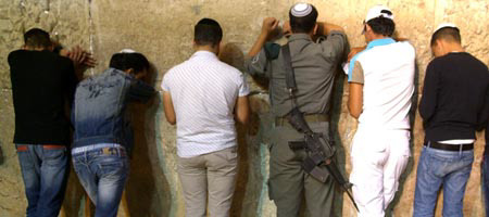 Prayers at the Western Wall, the last standing wall of the Holy Temple's compound in Jerusalem Photo: Meir Dahan