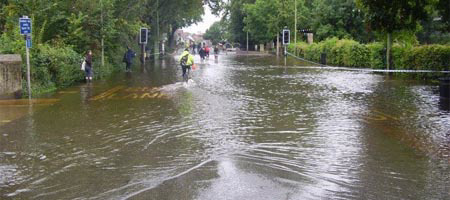 The flooded Botley Road on Oxford University's campus