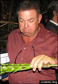 Having never seen one up close, Michael Matalon, president of Jamaica's Jewish community, examines a lulav.
