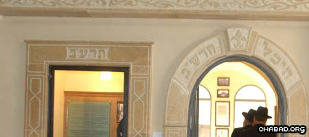 The stone entrance of the new Heichal HaRashab library in Hebron, Israel (Photo: Meir Dahan)