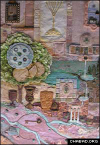 Muchnik's art is all in the details. Here, one can find many different elements of the Pesach seder as well as symbols pertaining to other Jewish holidays.