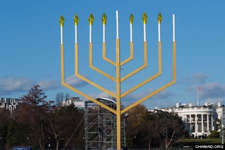 The National Menorah sponsored by American Friends of Lubavitch stands ready in front of the White House before the start of Chanukah. (Photos: Israel Bardugo)