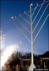 Lights traditional and modern mark the beginning of Chanukah in Russia's Jewish Autonomous Republic.