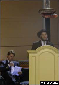Wyatt Hall address the crowd at Mississippi's first-ever public menorah lighting.