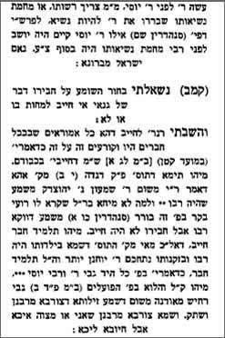 מתוך ספר התשובות של רבי ישראל ברונא