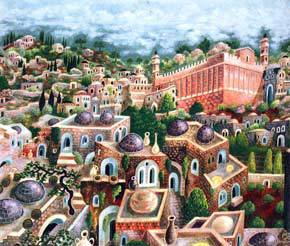"""""""Hebron, City of the Patriarchs"""" acrylic on canvas by Baruch Nachshon"""
