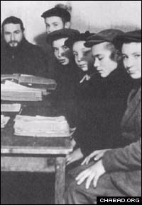 Rabbi Moshe Rubinson, left, and some of the students of an underground Jewish school banned by Soviet authorities.