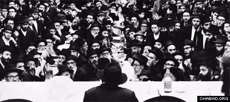 The Rebbe, Rabbi Menachem Mendel Schneerson, of righteous memory, gives a talk in 1968.