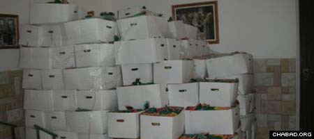 Boxes of food aid await disribution in Sderot, Israel.