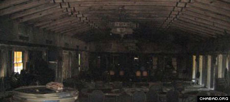 The charred interior of the Chabad House of Miami Beach, Fla.