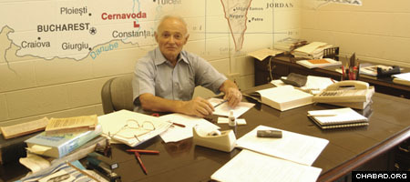 Liviu Librescu, who sacrificed his life so that students could survive a gunman's rampage, sits at his desk at Virginia Tech. (Photo courtesy of Virginia Tech)