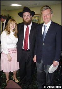 U.S. Sen. Max Baucus, right, congratulated Rabbi Chaim and Chavie Bruk on their first year spent as Chabad-Lubavitch emissaries in Montana.