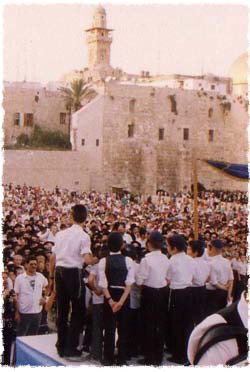 The grand gathering in honor of the completion of the third Children's Torah Scroll at the Western Wall. The Torah was written specifically in the merit and for the unity of Jewish children worldwide.