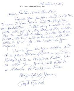 Lettre de Lipchitz au Rav Shemtov du centre Loubavitch du Michigan en 1967