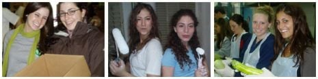 L-R: JRA food distribution in Philly, painting homes in Argentina, Preparing food in Israel