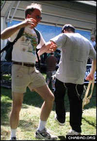 Dancing on Guilford, Conn.'s town green during the Shoreline Jewish Festival (Photo: Mike Michaels)