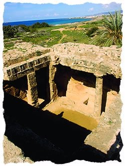 """Erroneously called the """"tombs of the kings,"""" these Cypriot burial sites date back to the time of Alexander the Great, Paphos, Cyprus."""