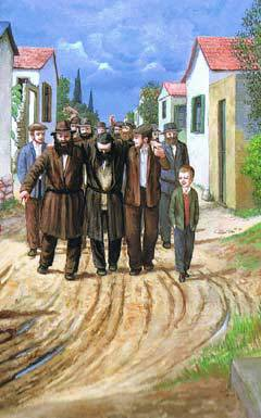 Kfar Chabad in its early years - detail from a painting by Zalman Kleinman