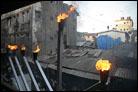 Flames Carry Mumbai Menorah's Light Skyward