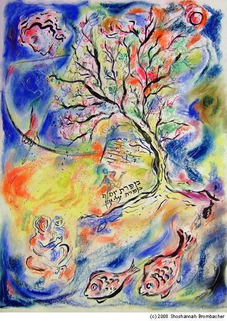 """Jacob's Blessing for Joseph"" by Shoshannah Brombacher; pastel and ink on paper , 24 x 18 inches, New York, 2008"