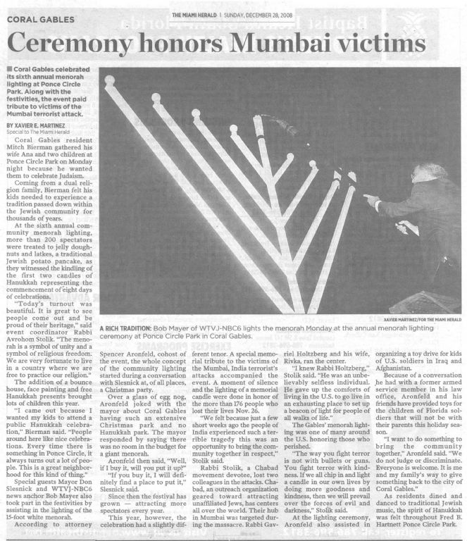 Chanukah 2008 in the Herald