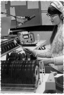 Donna L. Halper spinning records on WNEU (photos: courtesy Donna L. Halper)