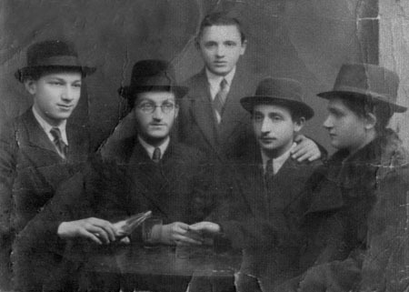 Chaim Meir, seated second from the left, with students of the Otwock Lubavitch school. (Courtesy of Bryski family)
