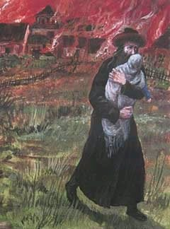"Detail from ""Pogrom I"", a painting by Chassidic artist Zalman Kleinman"