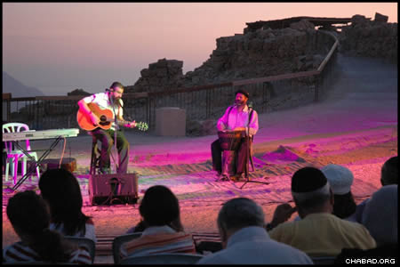 Israeli performers Michael Viegel and Gil Akivayov theatrically expound on the deeper meanings of the selichot prayers during a pre-dawn event at the mountaintop fortress of Masada.