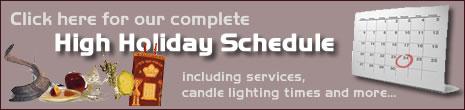 High Holidays Schedule