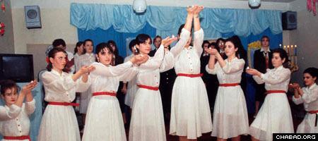 Jewish girls in Dnepropetrovsk, Ukraine, take part in a school production.