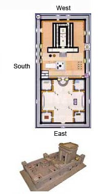 Floor plan (top) and model (below) of the Second Temple