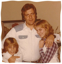 The author as a child (left), with her father and sister