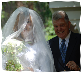 The author with her father on her wedding day