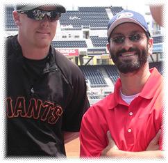 Major League catcher, Steve Holm, and Marc at Petco Park, San Diego.